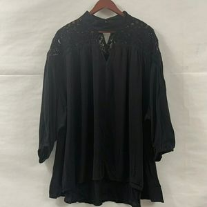 NWT a.n.a Womens Velvety Lace 3/4 Sleeve Blouse